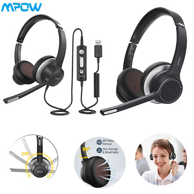 Mpow USB/Bluetooth Headset On Ear Headphone Mic For PC Laptop Call Center Skype • 17.99£