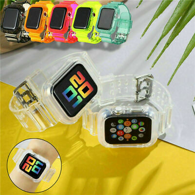 AU15.99 • Buy TPU Clear Silicone Watch Band Wrist Strap For Apple Watch Series 6/5/4/3/2/1/SE