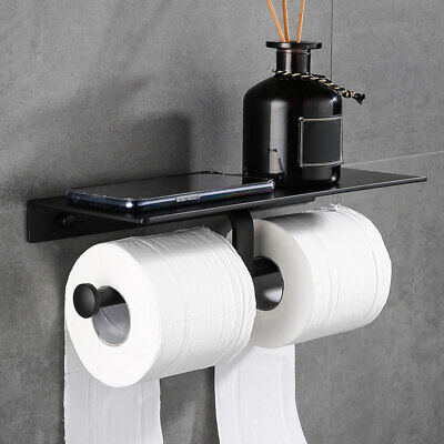 Double Toilet Roll Paper Holder Bathroom Phone Tissue Shelf Stand Tray Storage  • 14.98£