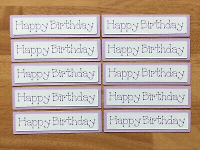 £2.39 • Buy 10x Happy Birthday Card Toppers Banners Papercraft Lilac Purple Textured