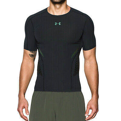 Under Armour Mens HeatGear Zone Short Sleeve Base Layer Compression Top - Black • 22.40£