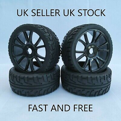 😀rc 1/8 Scale Car Buggy Wheels Rims On Road & Tyres Tires X4 Hsp Hpi😀 • 26.99£