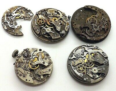 $ CDN391.93 • Buy Lot Of 4 Vintage Swiss Chronograph Wrist Watch Movements ~Spares Or Repairs~