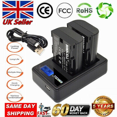 UK 2x LP-E6 Battery+LCD DUAL Charger For CanonEOS 80D 70D 7D 60D Mark III 5DS FB • 17.49£