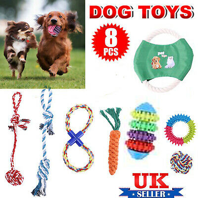 UK 8Pcs Dog Rope Toys Tough Strong Chew Knot Teddy Pet Puppy Bear Cotton Toy • 7.49£
