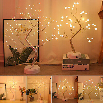 Uk Led Cherry Blossom Tree Bonsai Light Table Bedside Lamp Room Party Decor • 12.64£