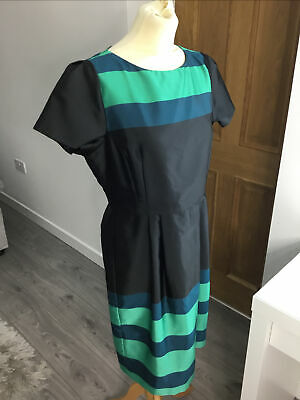 AU65.20 • Buy Stunning Lk Bennett Accalia Dress Size 14 Black Green Blue Satin Ex Con