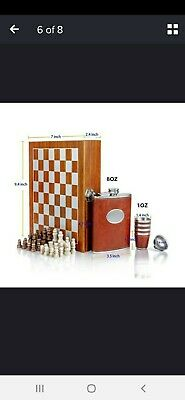 Fine Boxed Luxury  Chess And Hip Flask Set • 64.99£