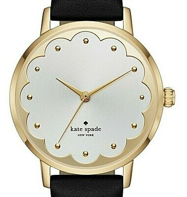 $ CDN98.67 • Buy Kate Spade Ladies Metro Scalloped Face And Black Leather Watch  Ksw1380