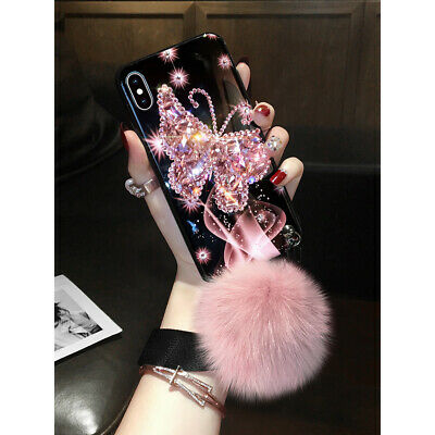 AU16.95 • Buy For IPhone 12 11 Pro XS MAX XR 78 Luxury Girl Bling Diamond Butterfly Plush Case