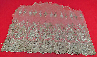 Vintage Edwardian White Net Silver Lame Embroidered Lace Dress Skirt Trim Fabric • 45.63£