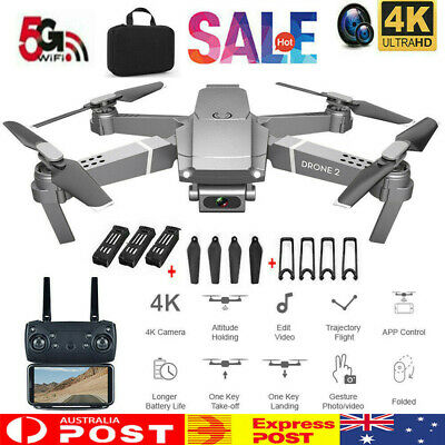 AU60.99 • Buy RC Drone 4K HD Wide Angle Camera Wifi FPV Live Foldable Quadcopter W/ 3Batteries