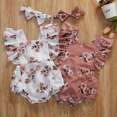 AU19.65 • Buy Infant Newborn Baby Girls Ruched Floral Romper Bodysuit Outfits Clothes A36