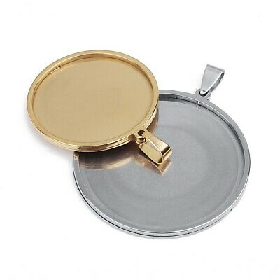 £10.40 • Buy Stainless Steel Pendant Cabochon Blank Base Tray Bezel Jewelry Making Supplies