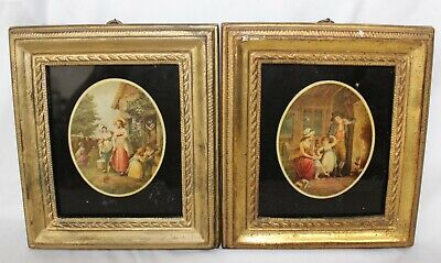 $65 • Buy Lot Of 2 Framed Vintage Reverse Glass Paintings, Borghese Studios