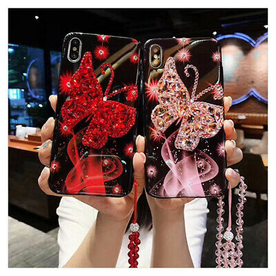 AU16.59 • Buy Girl Bling Diamond Butterfly Case W/ Crystal Strap For IPhone 11 Pro XS MAX XR 8