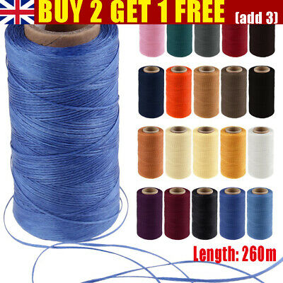 £6.29 • Buy 260 Meter 1mm Waxed Wax Thread Cord Sewing Craft DIY Leather Hand Stitching UK