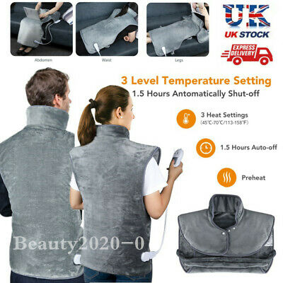 £29.82 • Buy Electric Heating Warming Pad Warmth Blanket Wrap Back Neck Shoulder Pain Relief