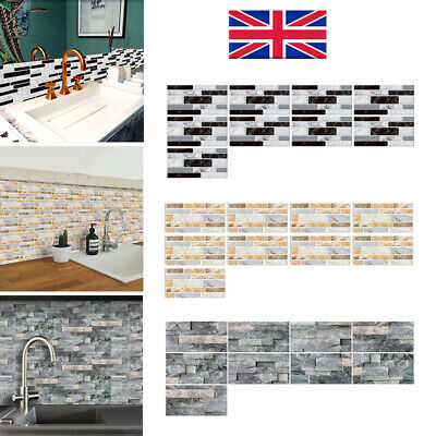 DIY Self-adhesive 3D Brick Tiles Wall Stickers Kitchen Bathroom Wall Art Decor • 5.88£