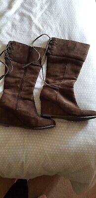 Red Herring Brown Knee Suede High Wedge Boots Size 5.5 Or 6 • 2.99£