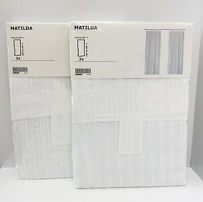 """IKEA Irmelin Curtains White Blue Green Bold Floral 98/"""" 2 Panels Mod Flowers"""