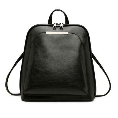 Vintage Oil Wax Leather Backpack Women Travel Shoulder School Bags (Black) • 13.29£