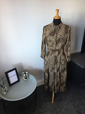 Topshop Leopard Print Tea/Day Dress Size UK 10 Petite - Stunning On - Worm Once • 39.99£