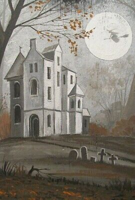 $ CDN18.14 • Buy LE HALLOWEEN POSTCARD 4/200 RYTA WITCH 4x6 VINTAGE STYLE HAUNTED HOUSE WITCH ART