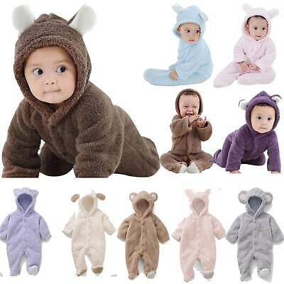 AU22.51 • Buy Winter Toddler Baby Boy Girl Warm Fleece Hooded Romper Bodysuit Jumpsuit Clothes