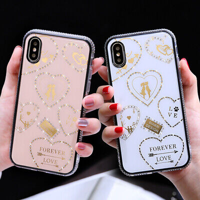AU16.99 • Buy For IPhone 11 Pro Max XS XR 6 7 8 Bling Diamond Love Heart Girl's Case Cover