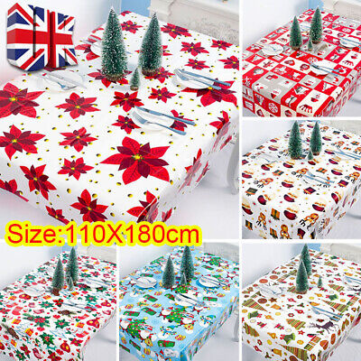 Christmas Pvc Tablecloth Wipeable Table Cloth Cover Wipe Clean Vinyl Oilcloth • 0.99£