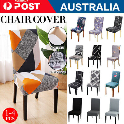 AU3.79 • Buy 1/4/6/ Stretch Dining Chair Covers Slipcover Spandex Wedding Cover Removable AU