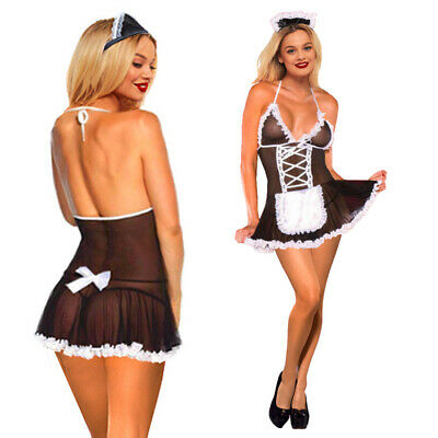 £5.99 • Buy French Maid Sexy Lingerie Mesh BDSM Cosplay Uniform Outfit Lace Up Dress