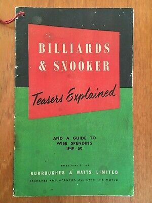 BILLIARDS & SNOOKER Teasers Explained & A Guide To Wise Spending In 1949 - 50 • 27.50£