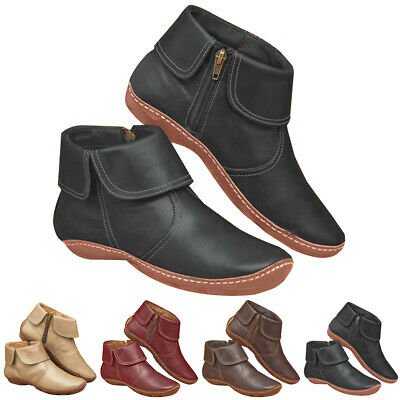 Womens Arch Support Ankle Boots Wedge Heel Flat Ladies Zip Round Toe Shoes Size • 14.59£
