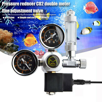 Dual Gauge Aquarium CO2 Regulator W/ Solenoid Bubble Counter W21.8 EU Plug • 37.73£