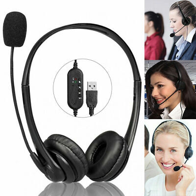 Wired Call Center Headset Microphone Corded Office Head Phone Micphone Telephone • 9.26£