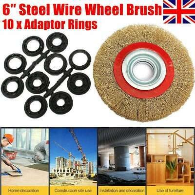 6″ Inch 150mm Fine Wire Brush Wheel With 10pcs Adaptor Rings For Bench Grinder • 4.95£