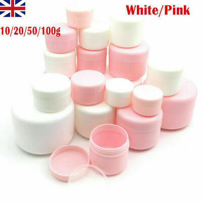 White Makeup Jar Pot Bottle Travel Face Cream Lotion Cosmetic Container UK • 6.09£