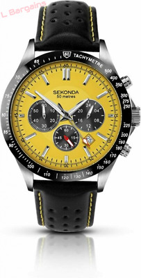 Sekonda Men's Quartz Watch With Yellow Dial Chronograph Display And Black...  • 99.90£
