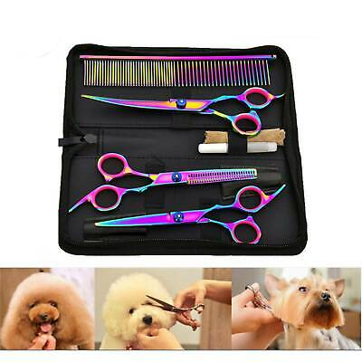 7'' Pet Hair Scissors Tool Dog Grooming Cutting Thinning Curved Shears Comb Kit • 14.39£