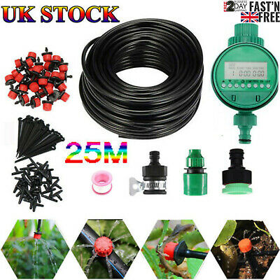 25M Automatic Drip Irrigation System Kit Plant Auto Timer Self Watering Hose Set • 16.19£