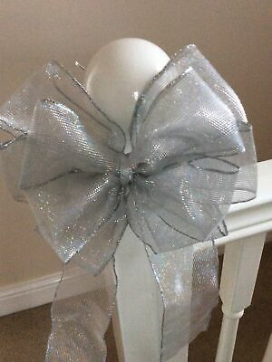 "Handmade 7"" Large Bow Christmas Tree Topper Sparkly Silver Bow Christmas Bow • 4.50£"