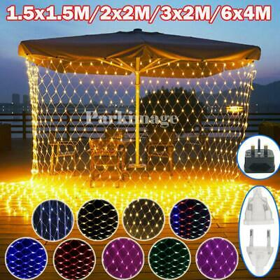 LED Net String Lights Waterproof Curtain Mesh Outdoor Christmas Tree Party Decor • 11.19£
