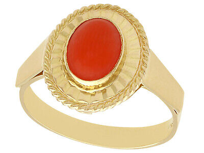 Coral And 18ct Yellow Gold Dress Ring - Vintage Circa 1980 • 1,295£
