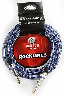 AU19.95 • Buy CARSON 20 Foot Guitar Lead / Instrument Cable *NEW* Noiseless Braided Blue
