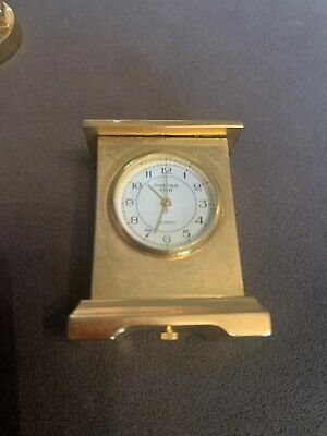 Vintage Classic Timepiece - Brass Miniature Quartz Mock Carriage Clock • 4.30£