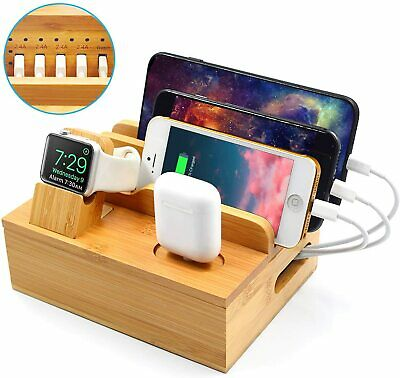 AU74.99 • Buy 5 Port Bamboo Multi-Device Charging Dock For Iwatch/iPhone/iPad/AirPod AU STOCK
