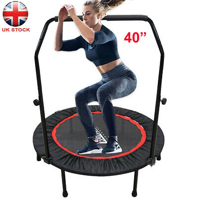40inch Foldable Mini Trampoline Jumping Fitness Rebounder With Stability Bar UK • 44.09£