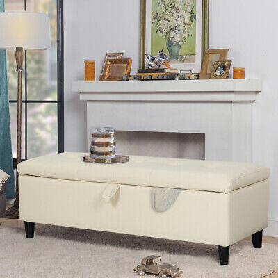 Ottoman Storage Bench Stool Faux Leather Upholstered Hallway Window Seat Beige • 78.95£